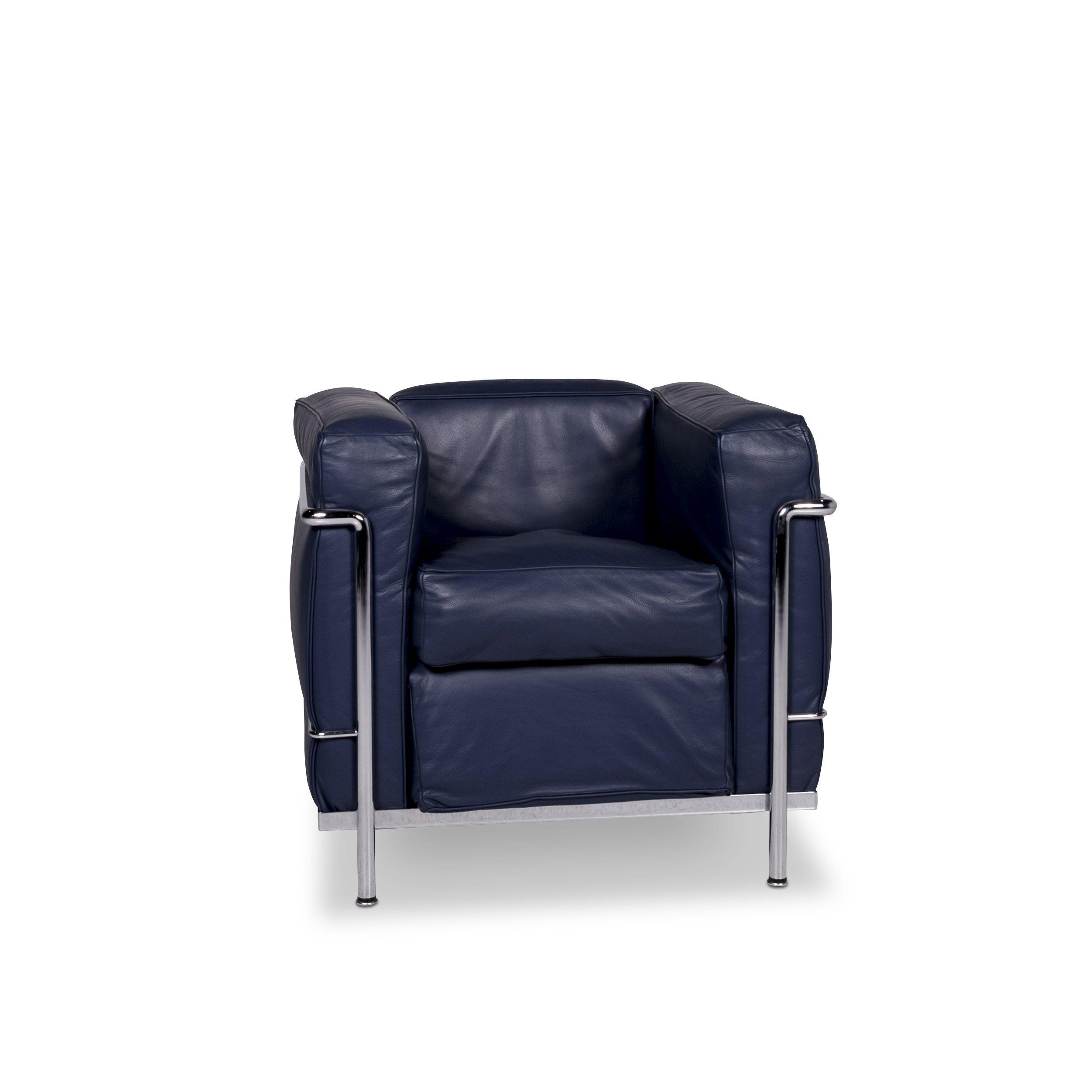Cassina Le Corbusier Lc 2 Designer Leather Armchair Blue #9882