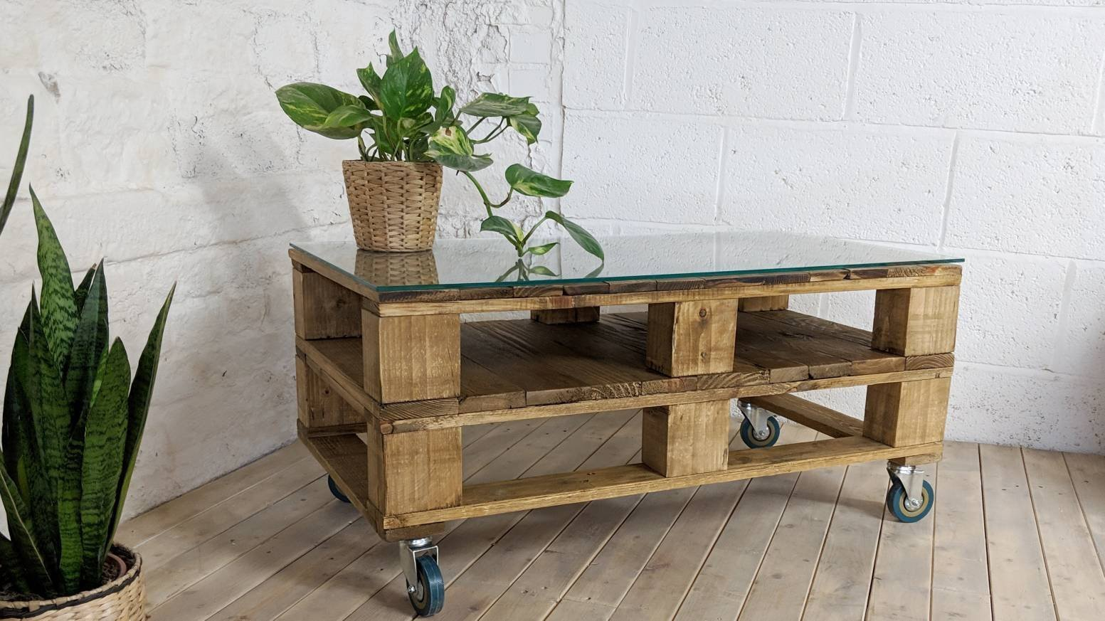 Industrial Pallet Coffee Table Lemmik In Medium Oak With Glass Top