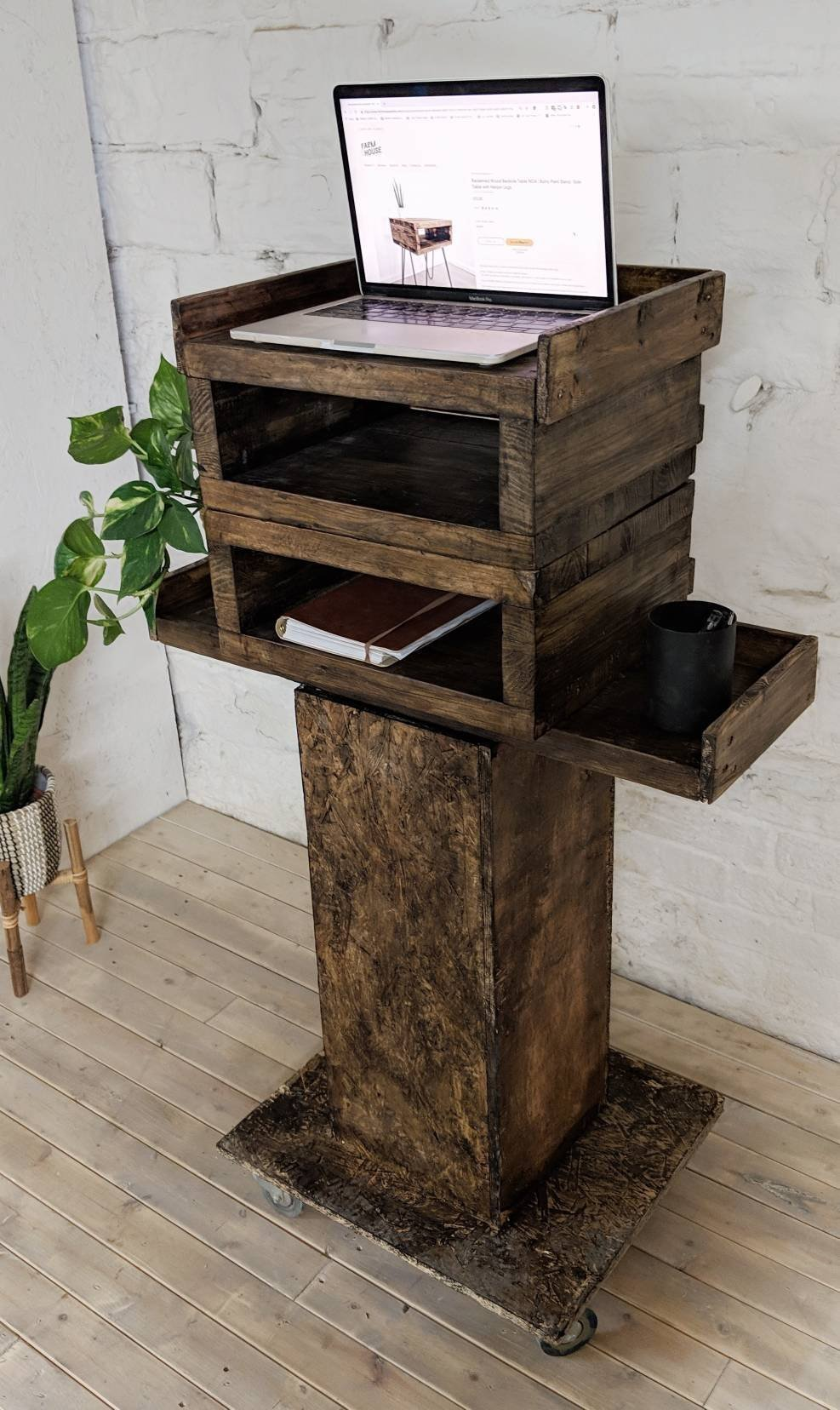Reclaimed Wood Office Standing Desk Gemba Rustic Mobile Workstation Sit Stand Table For Laptop In Roast Coffee Finish With Wheels