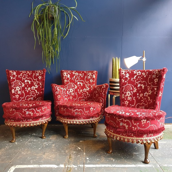 Set Of 3 Red Brocade Cocktail Chairs