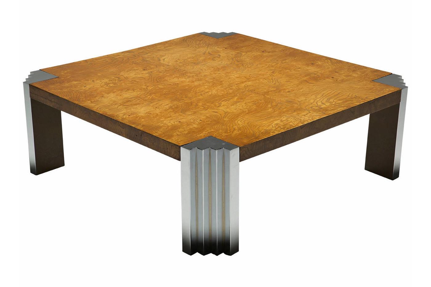 Burr Walnut And Chrome Skyscraper Coffee Table Vinterior