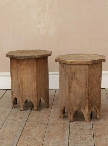 Vintage Rustic Folky French Timber Side Tables / Bedside Tables X2