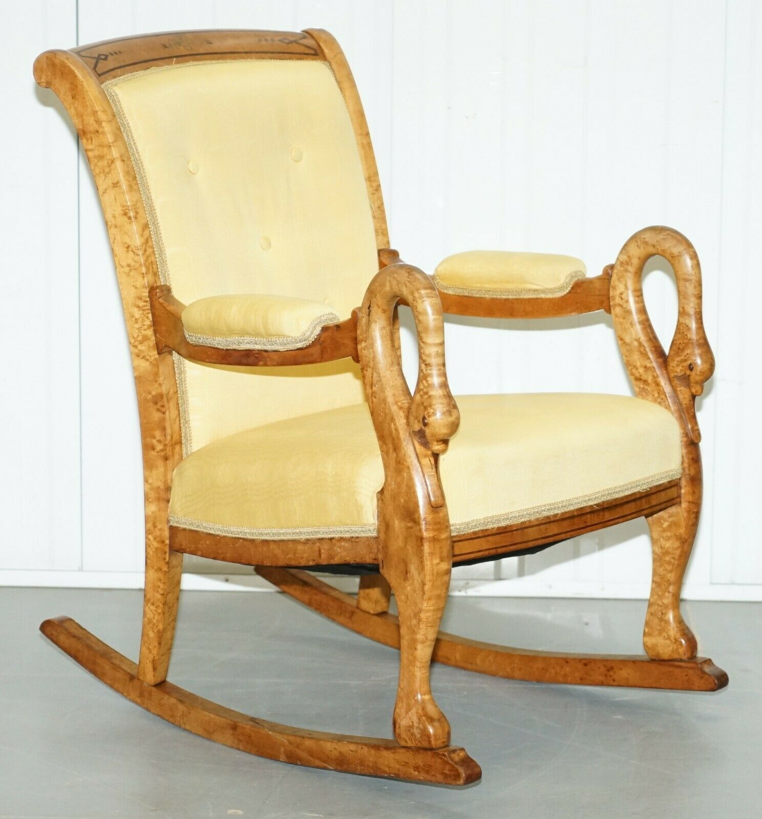Astonishing Rare Circa 1825 Burr Maple Rocking Armchair With Hand Carved Swan Detailed Arms Pdpeps Interior Chair Design Pdpepsorg
