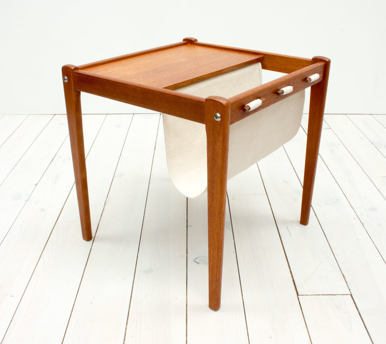 Mid Century Danish Teak Side Table Magazine Holder By Furbo