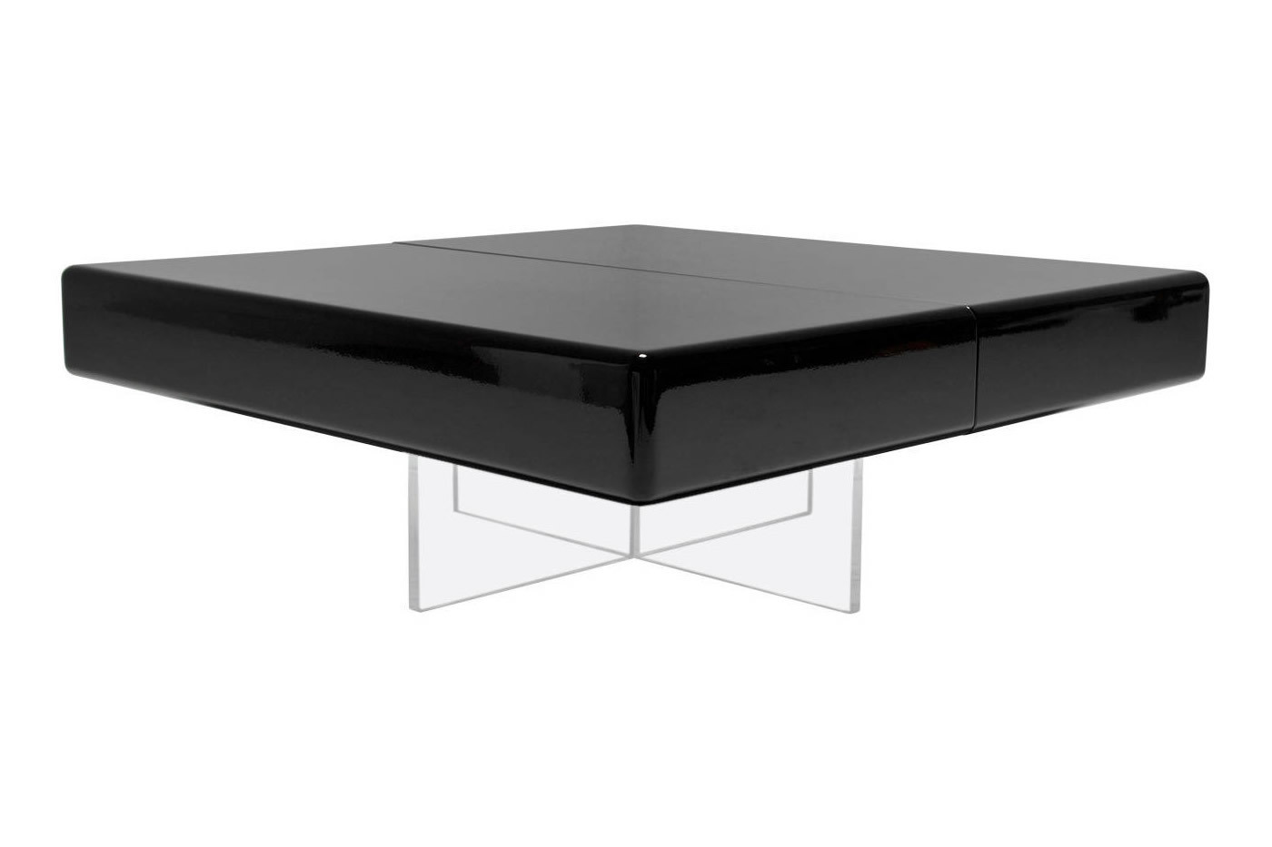 - Black Lacquer 1970's Coffee Table With Perspex Base Vinterior