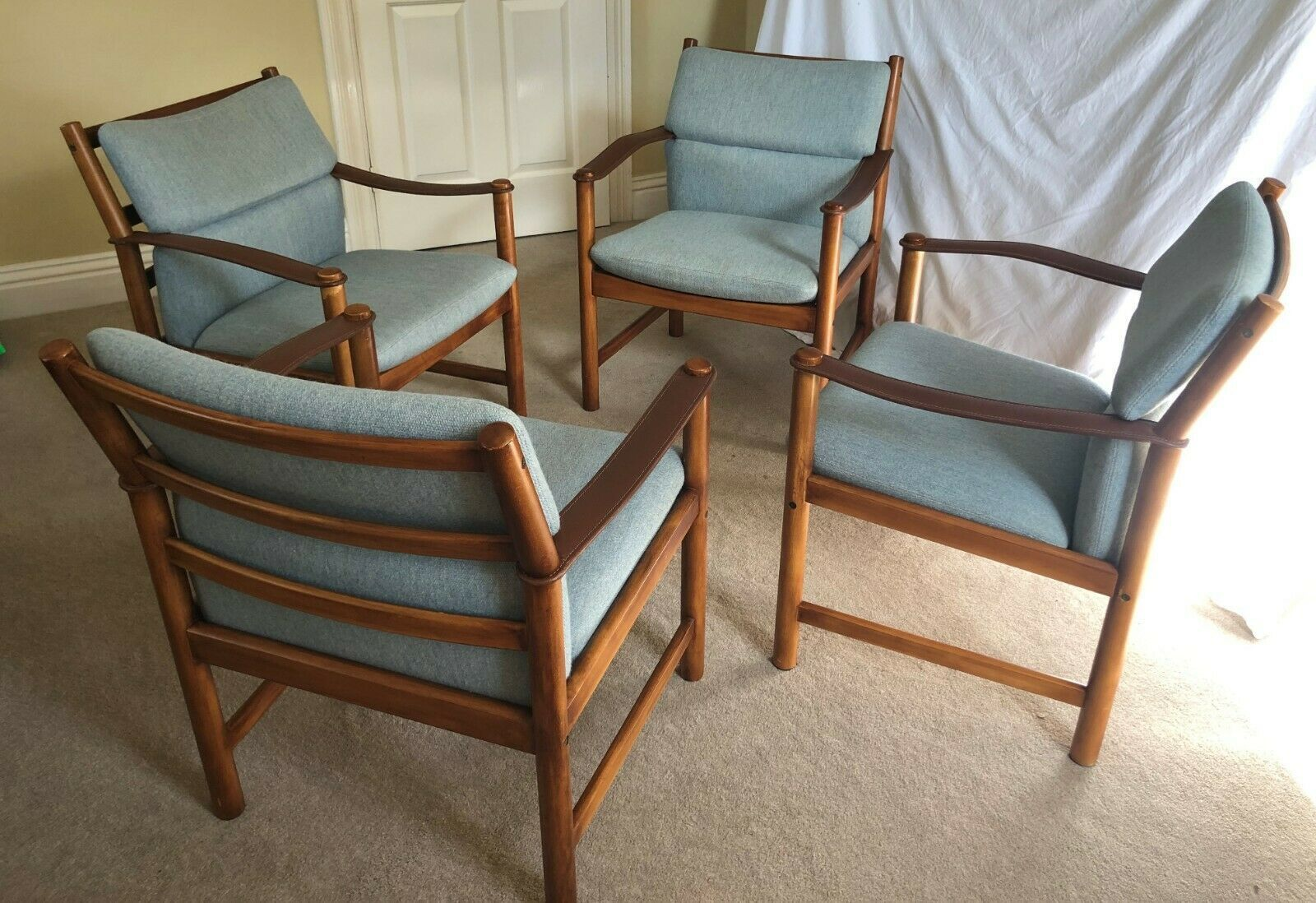 Vintage Mid Century Modern Danish Lounge Chairs Armchair With Leather Sling Arms