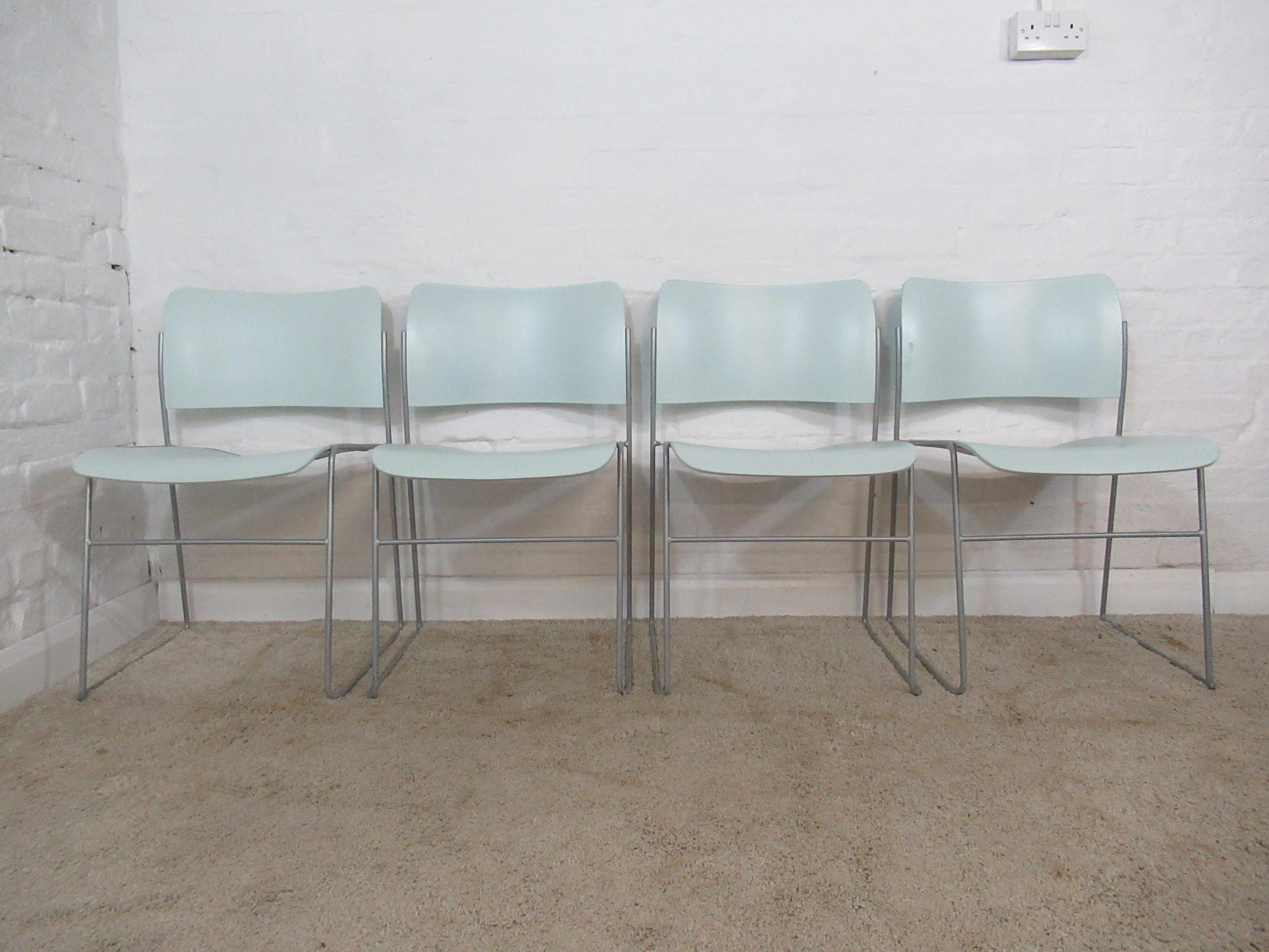 David Rowland For Howe Set Of Four Pale Blue Grey Metal 40 4 Stacking Chairs