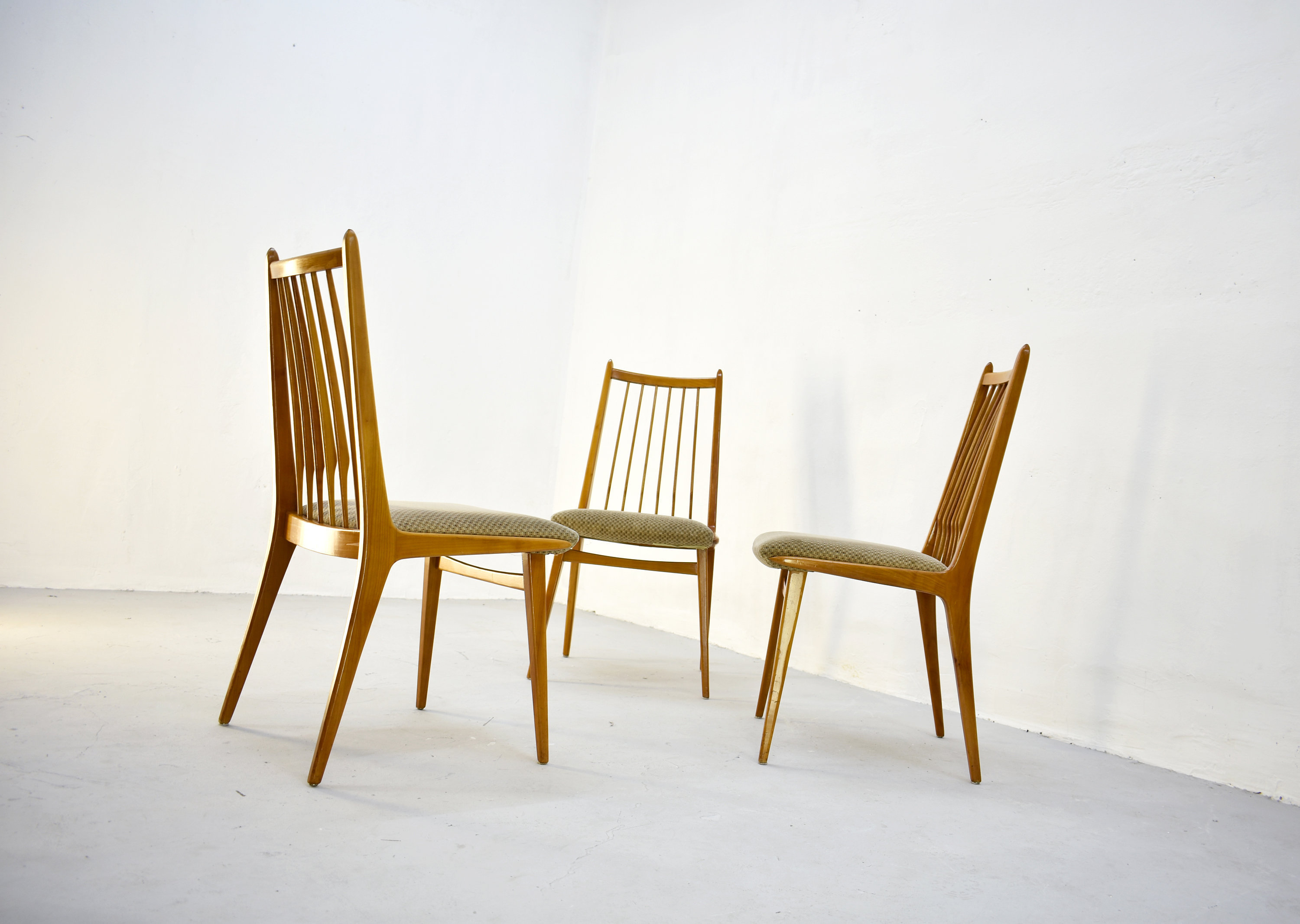 1/3 Vintage Mid Century Modern Wooden Dining Chairs By Casala, Germany  1960s,