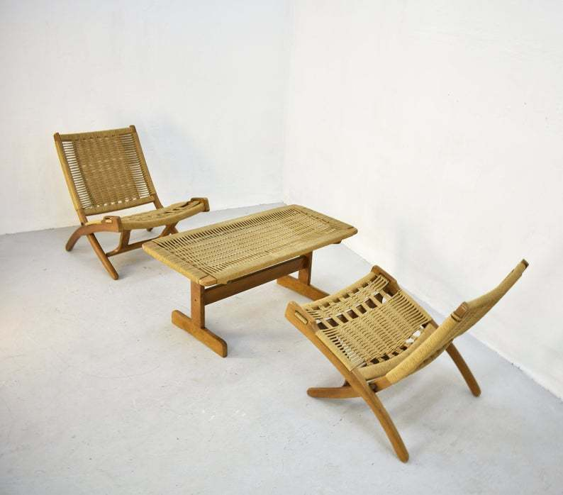 Fine Pair Of Vintage Mid Century Folding Woven Rope Chair In The Style Of Hans Wegner With A Matching Coffee Table Ocoug Best Dining Table And Chair Ideas Images Ocougorg
