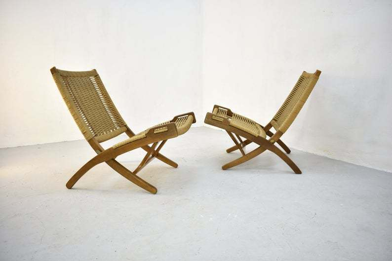 Marvelous Pair Of Vintage Mid Century Folding Woven Rope Chair In The Style Of Hans Wegner Ocoug Best Dining Table And Chair Ideas Images Ocougorg