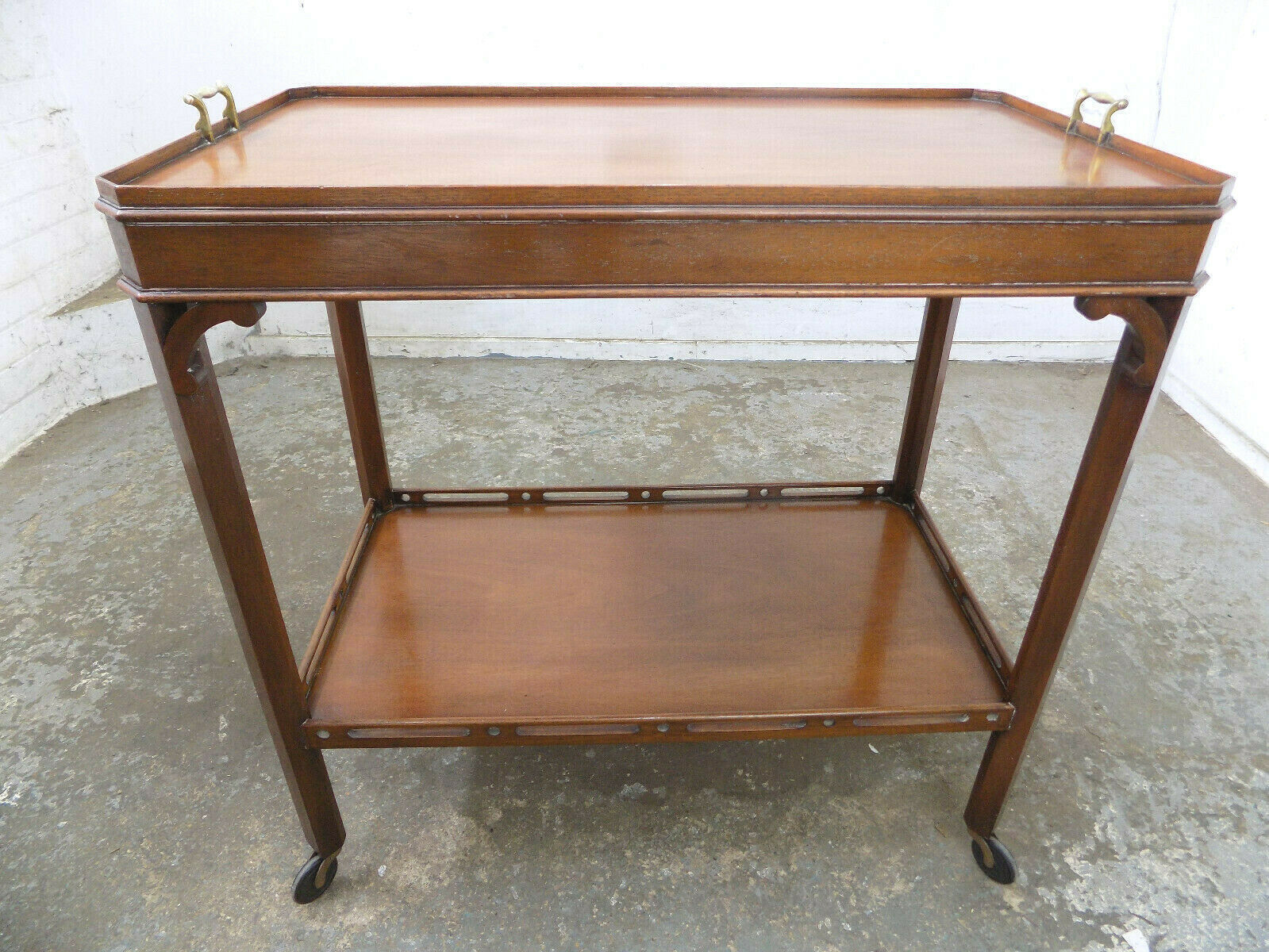 Trolley Coffee Table.Vintage Mahogany 2 Tier Hostess Trolley Side Table Serving Hall Table Wheels