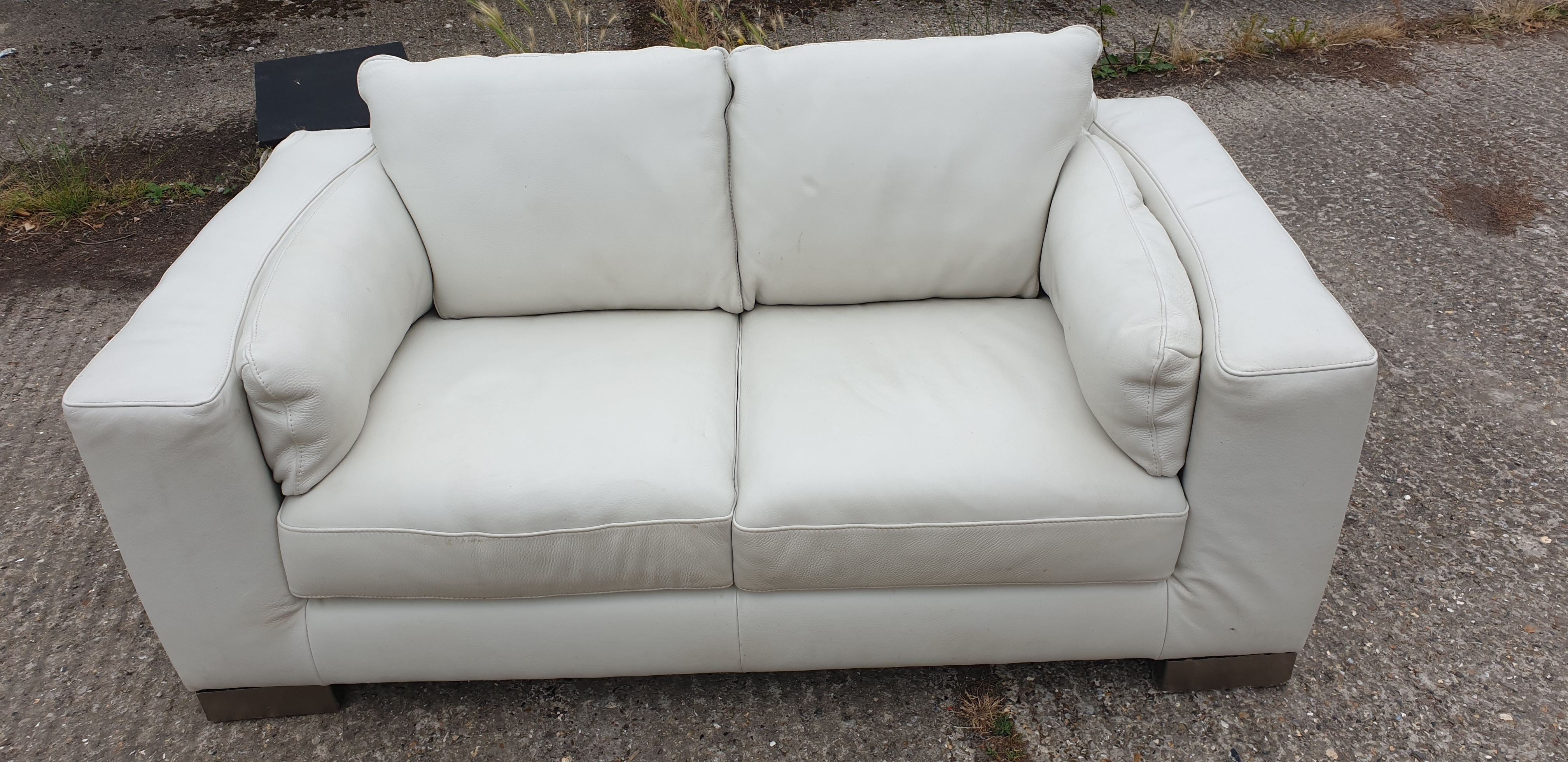 2 Seater Light Cream Leather Sofa