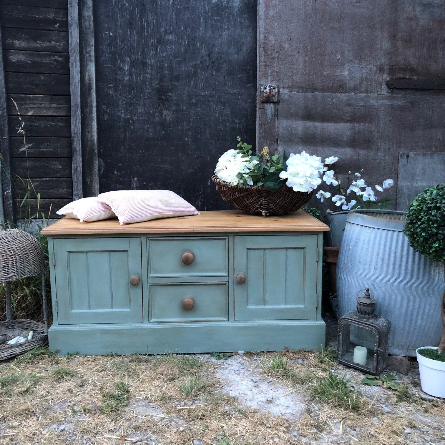 Phenomenal Duck Egg Blue Hand Painted Vintage Pine Country Farmhouse Storage Bench End Of Bed Ottoman Tv Cabinet Machost Co Dining Chair Design Ideas Machostcouk