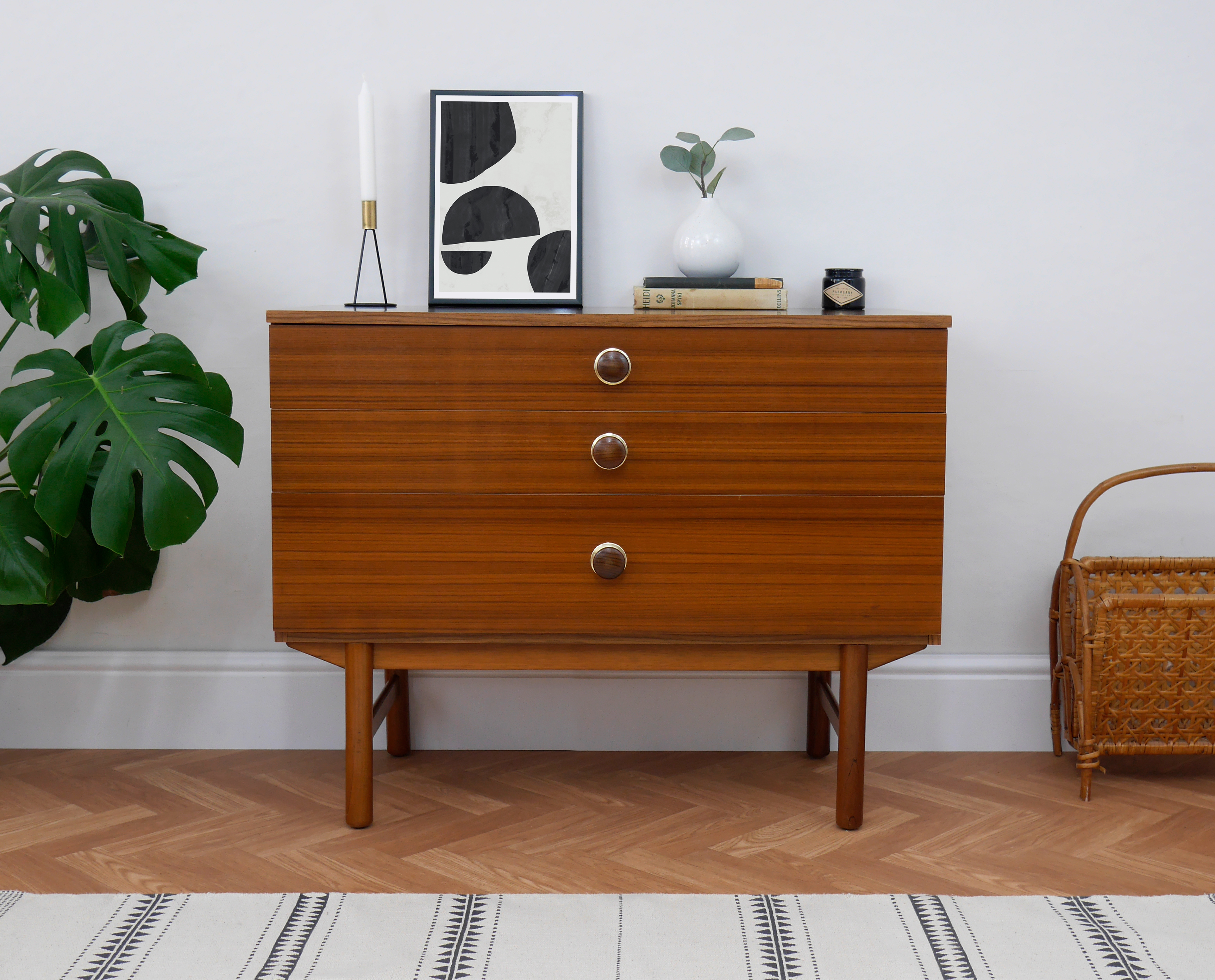 Mid Century Teak Chest Of Drawers Storage With Wooden Legs