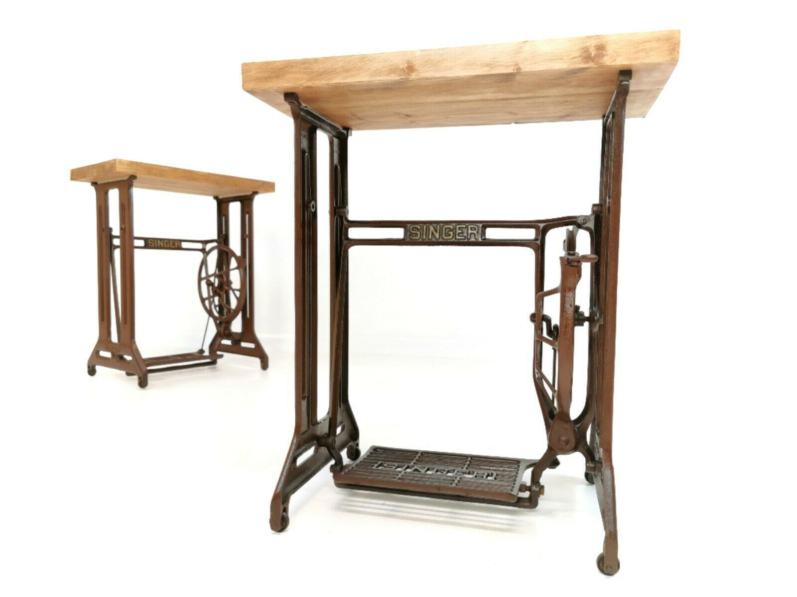 Antique Singer Sewing Machine Coffee / Side / Hall Cast Table Industrial  Vintage