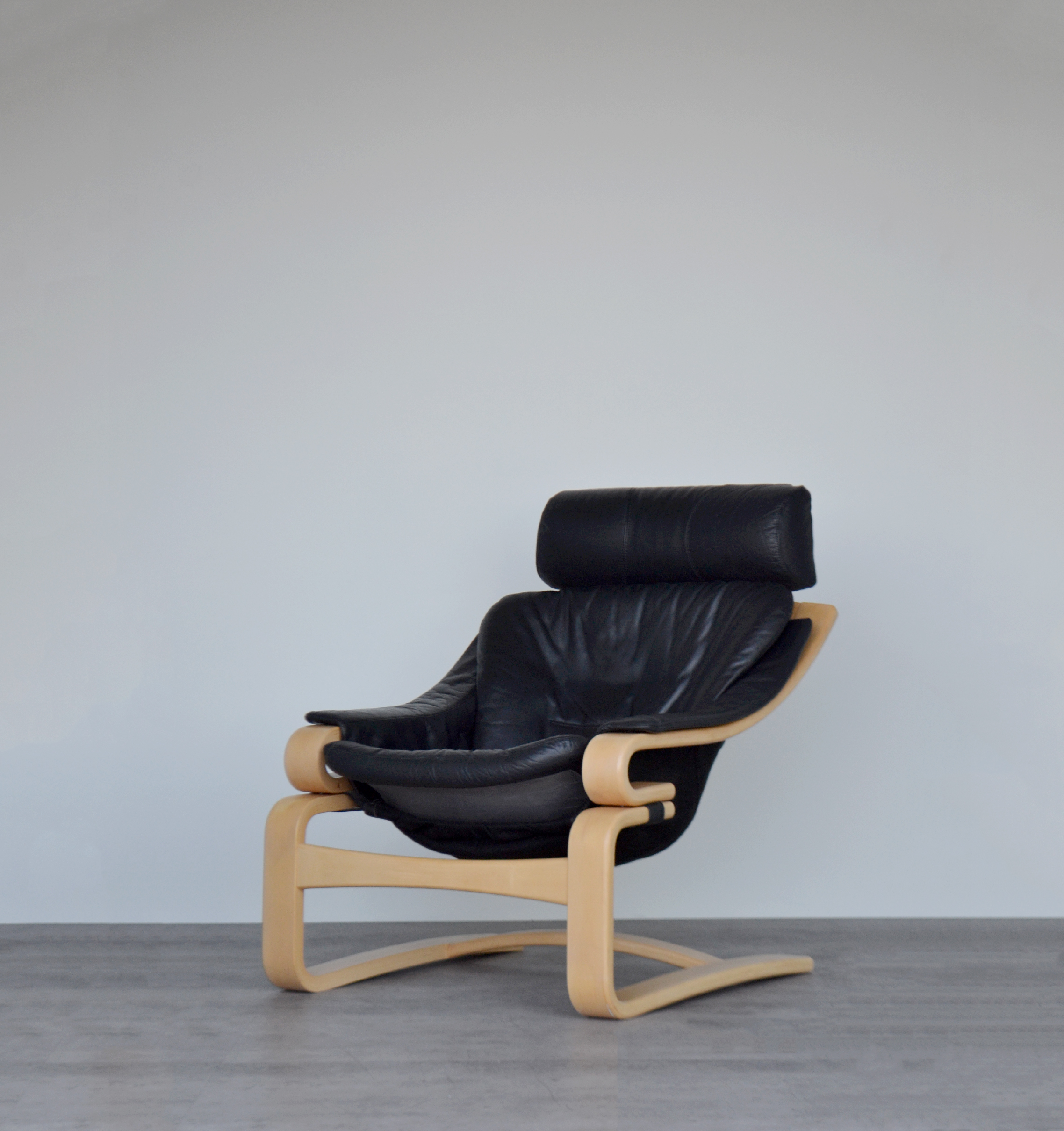Rare Vintage Mid Century Danish Bentwood Black Leather And Beech Apollo Chair Armchair Lounge Chair By Svend Skipper For Skippers Mobler