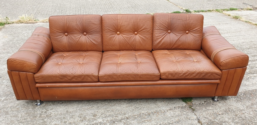 Danish 3 Seater Leather Sofa By Skipper Furniture Factory