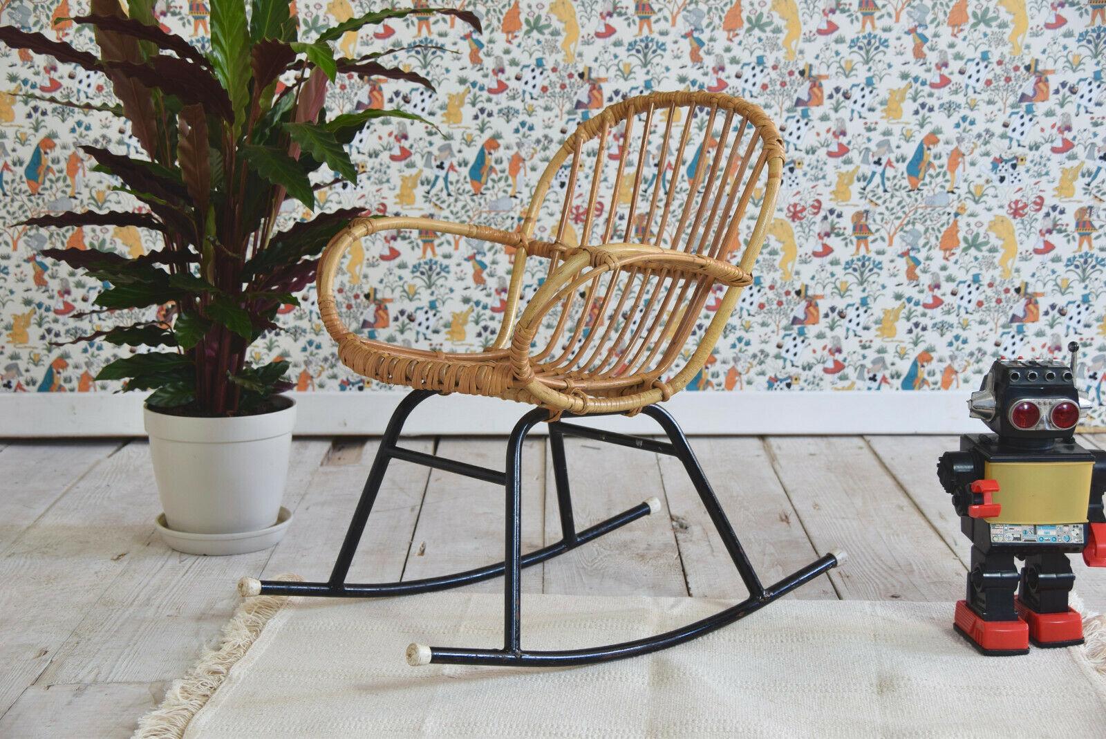 Vintage Childs Bamboo Cane Wicker Rocking Chair Children S Kids Furniture