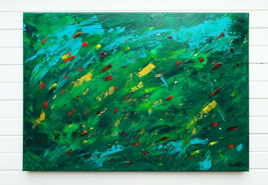 Large Green Abstract Painting Canvas Feature Wall Original Art J Lucas
