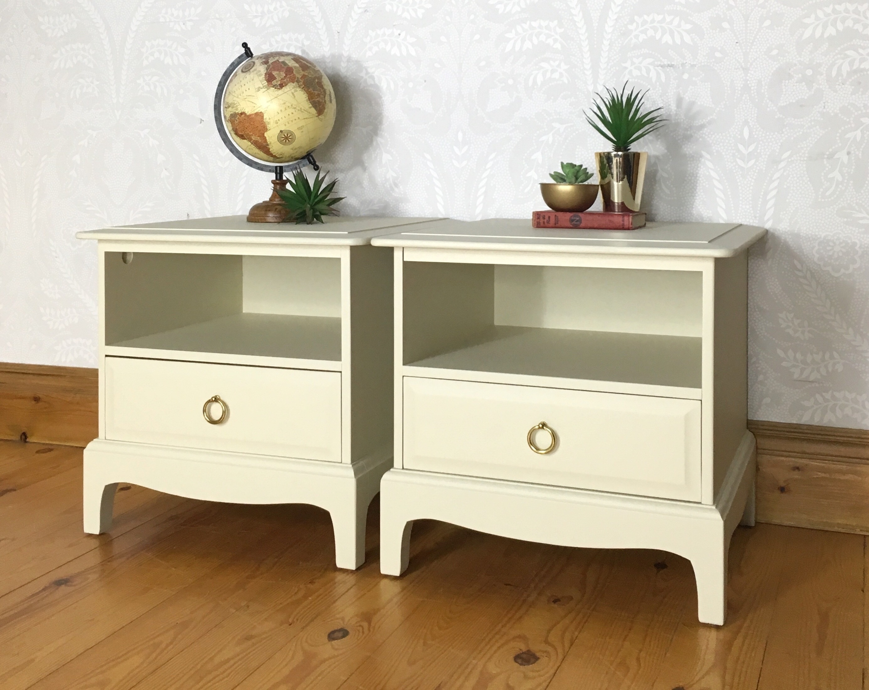 bedside tables by stag minstrel from the mid century 1970s cream bedroom furniture matching set availble