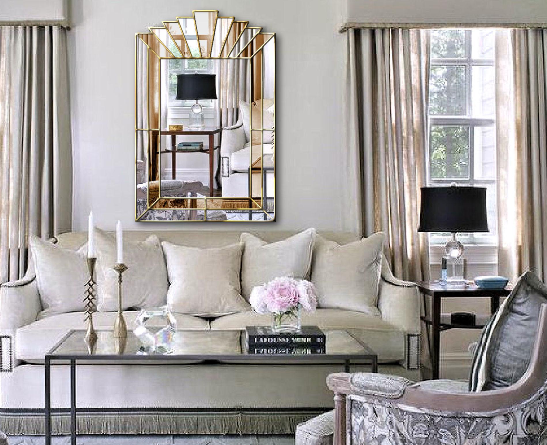 Louis Art Deco Original Handcrafted Fan Wall Mirror In Bronze And Silver Phillip Orr Vinterior