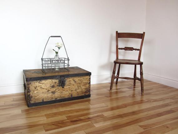 Metal Bound Pine Tool Box 1950s