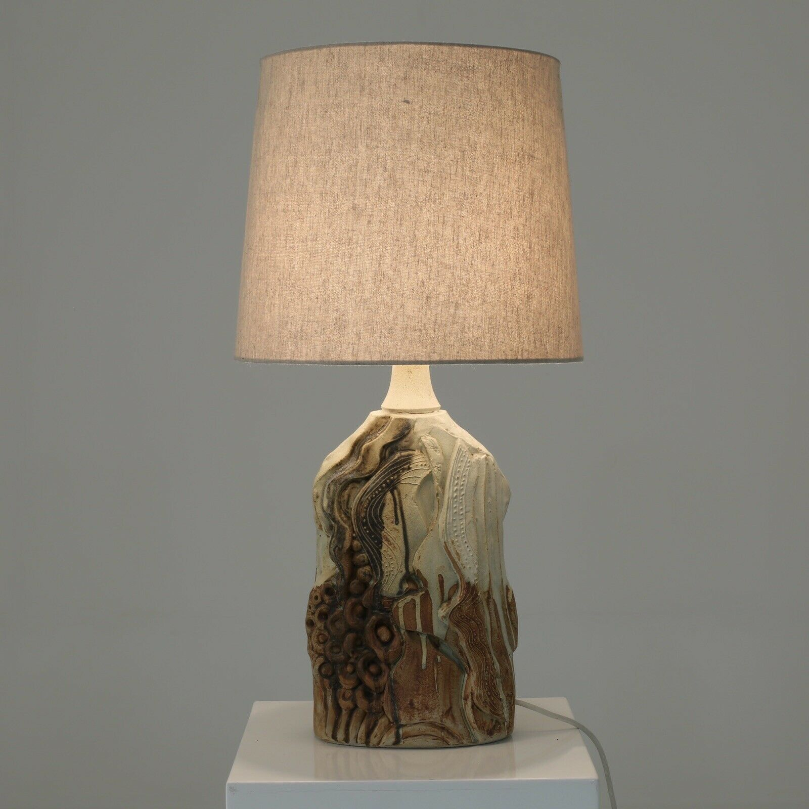 Midcentury Bernard Rooke Studio Pottery Table Lamp Ceramic Stoneware 1960s Retro