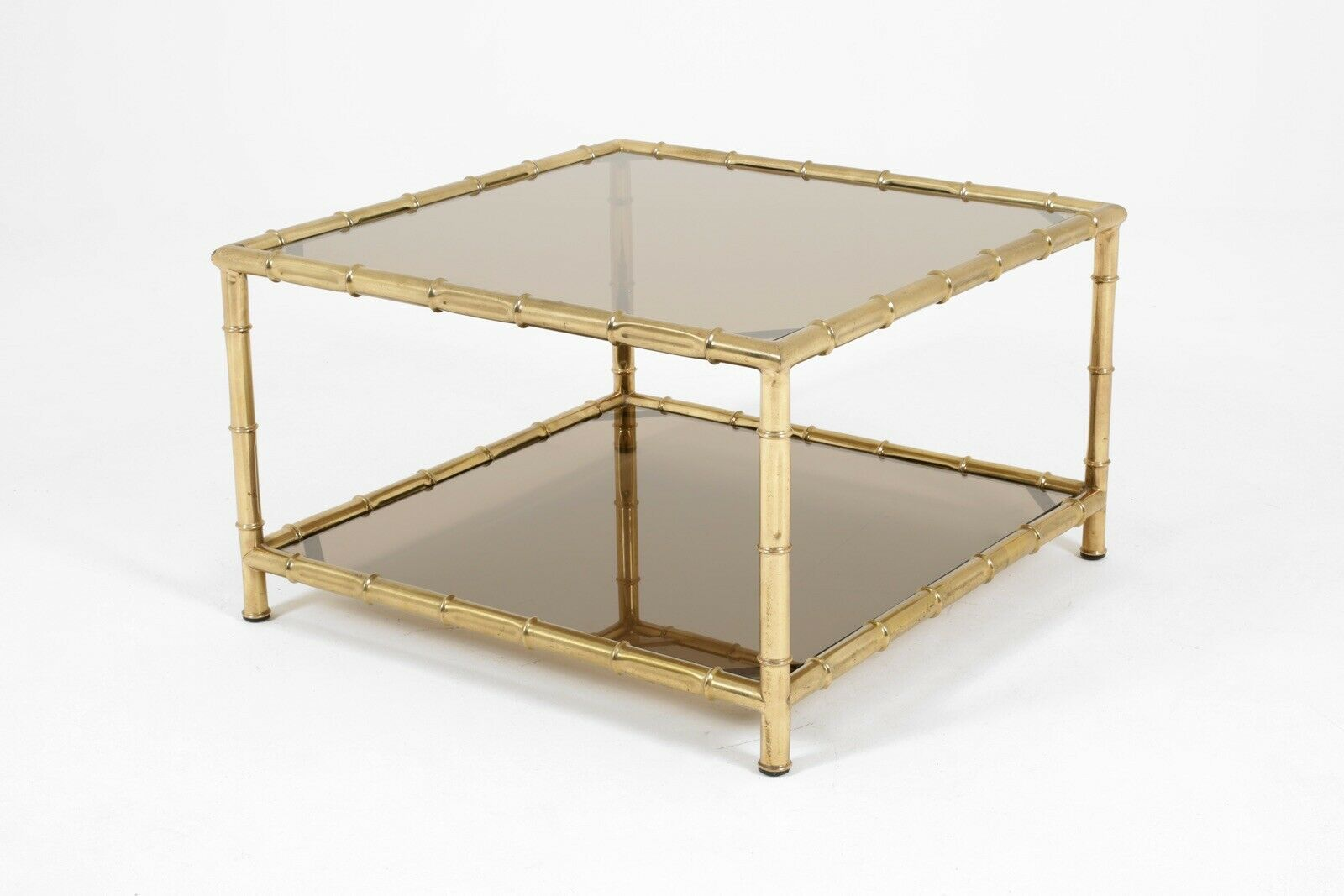 Italian Glass Coffee Table.Midcentury Italian Brass Faux Bamboo Glass Coffee Table Vintage 1970 Gold Retro