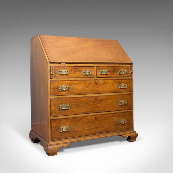 Antique Bureau Mahogany English Georgian Desk Circa 1780