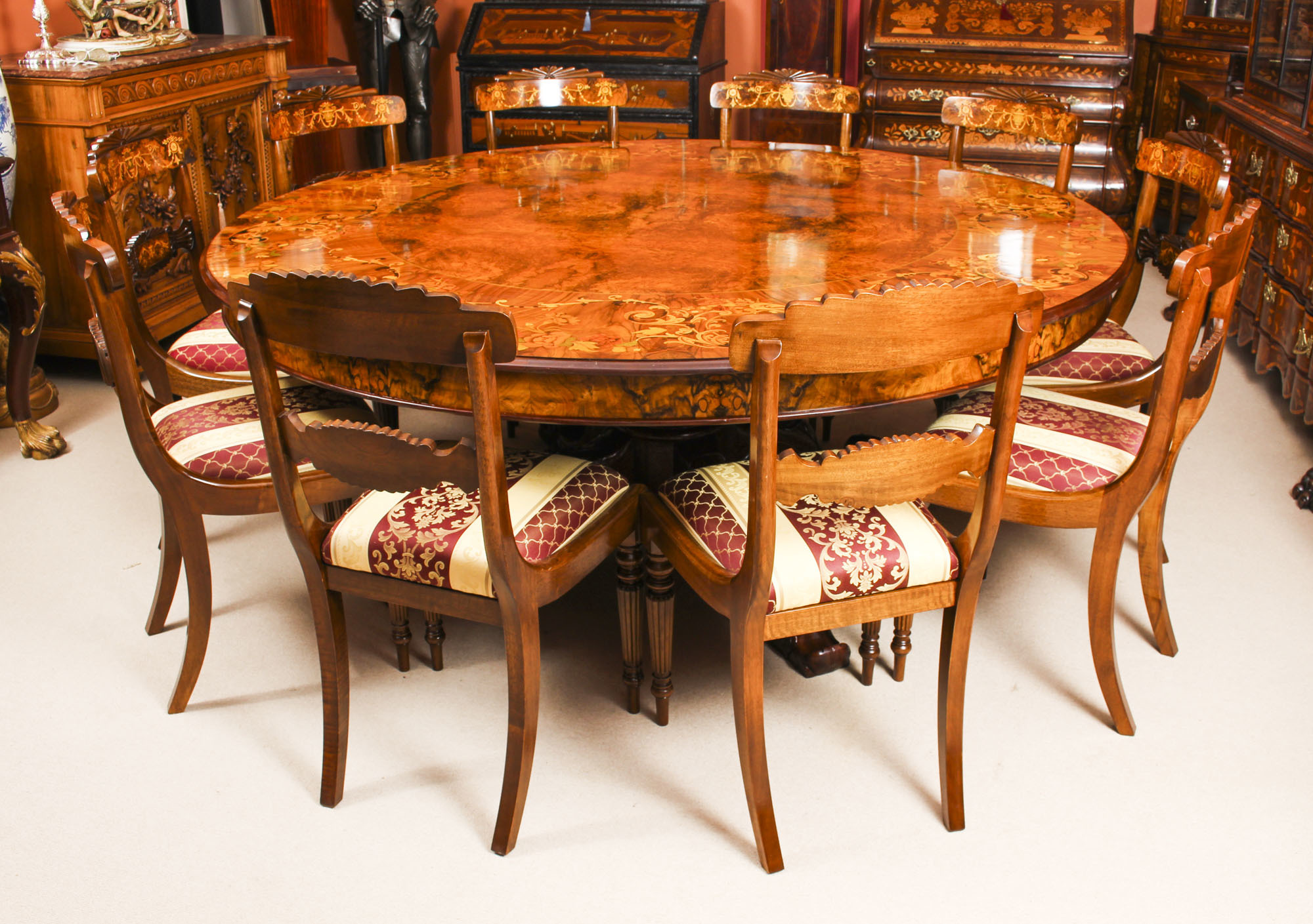 Vintage 6ft 6 Inch Diameter Round Marquetry Dining Table 10 Chairs