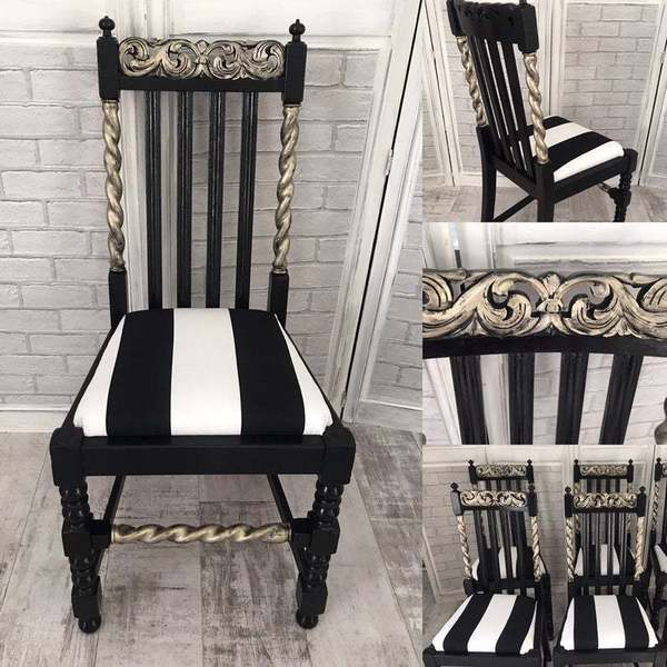 Stunning Set Of 4 Black And Gold Hand Painted Barley Twist Dining Chairs With Bold Black White Strip Seat Pads