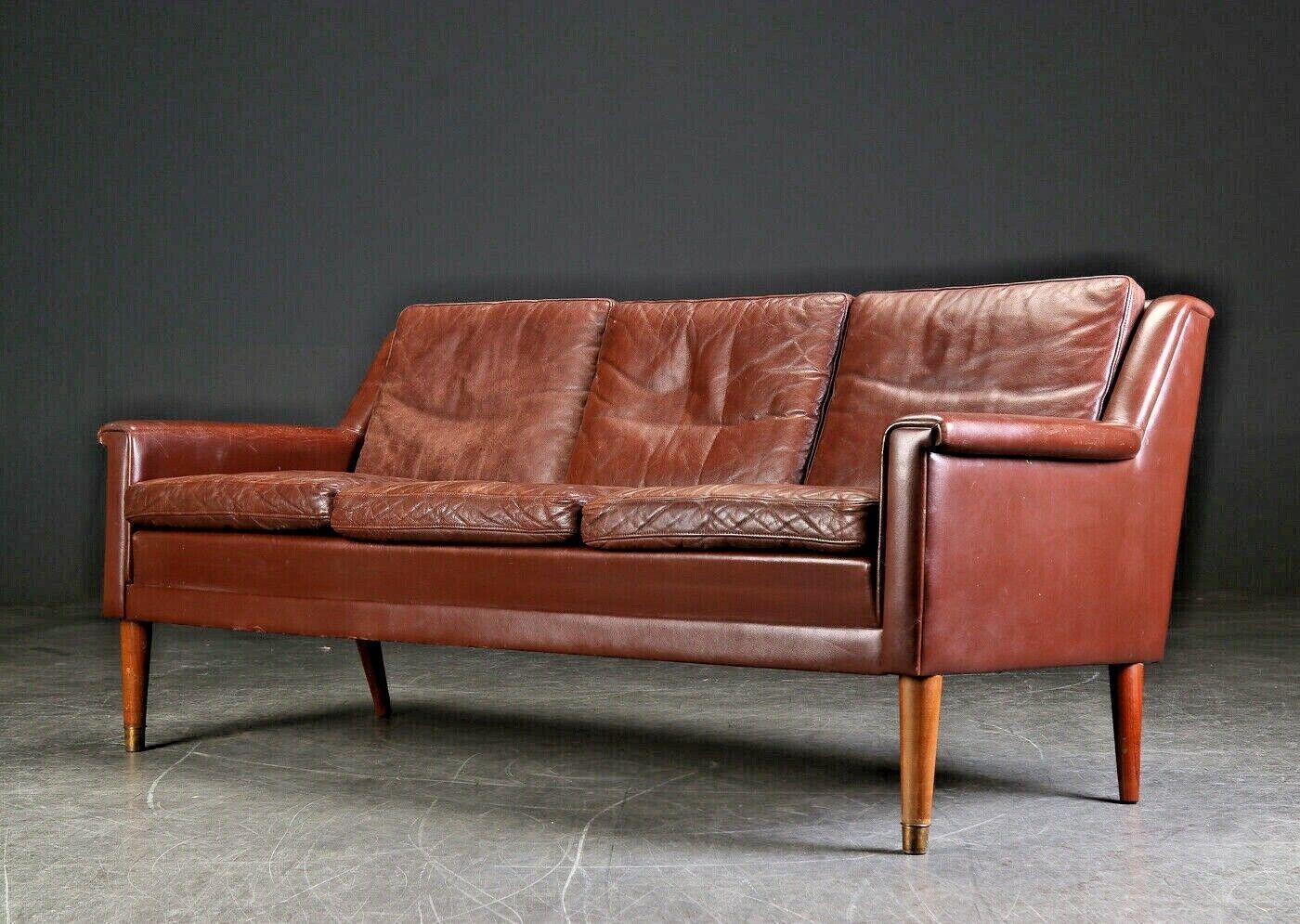 Vintage Retro Danish Thams 3 Seater Brown Leather Sofa 1960 S