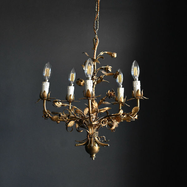 Gilt Toleware Rose Chandelier   Vintage Floral Ceiling Light Fitting
