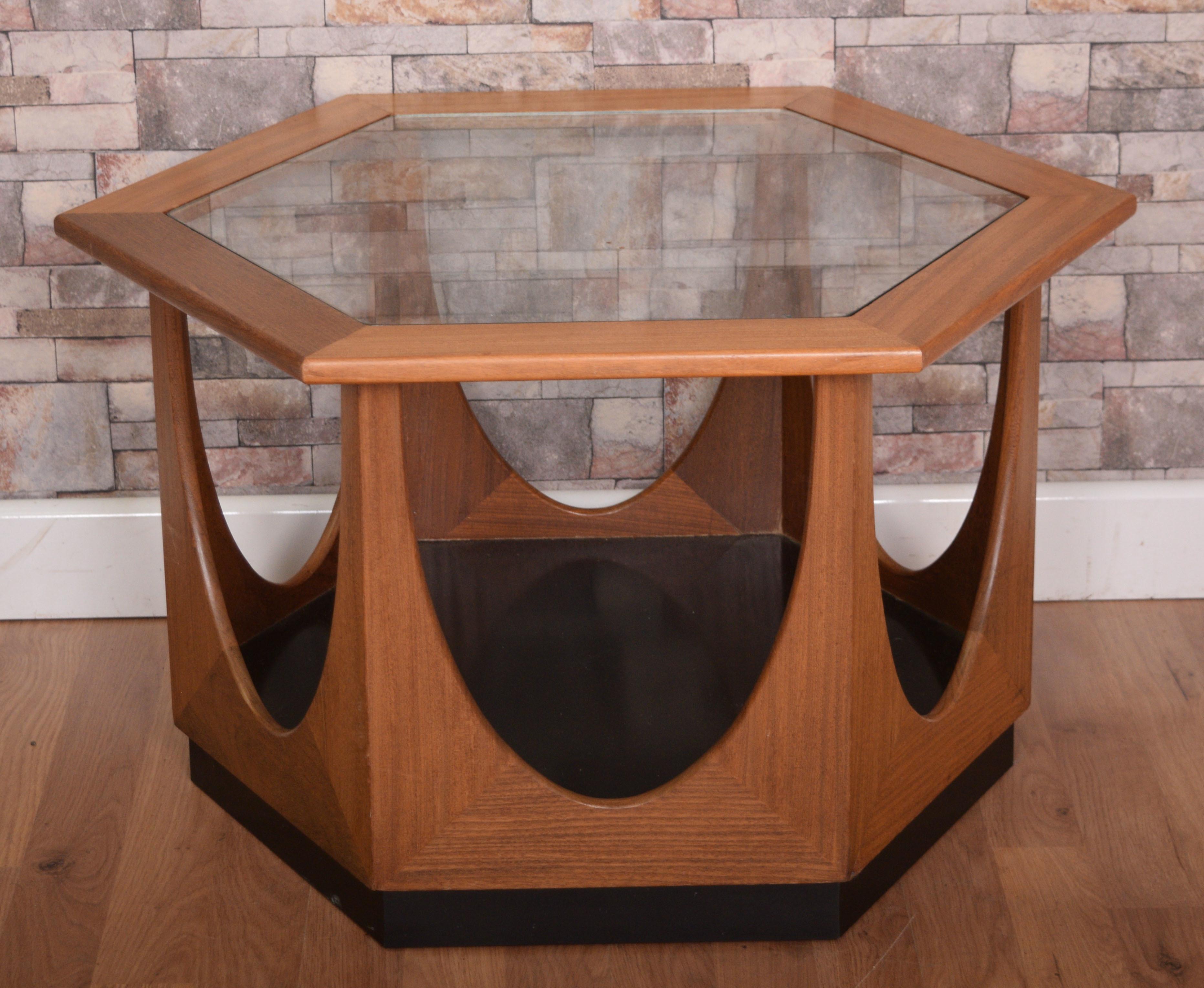 Retro 1960 S G Plan Teak Glass Hexagonal Coffee Table G Plan