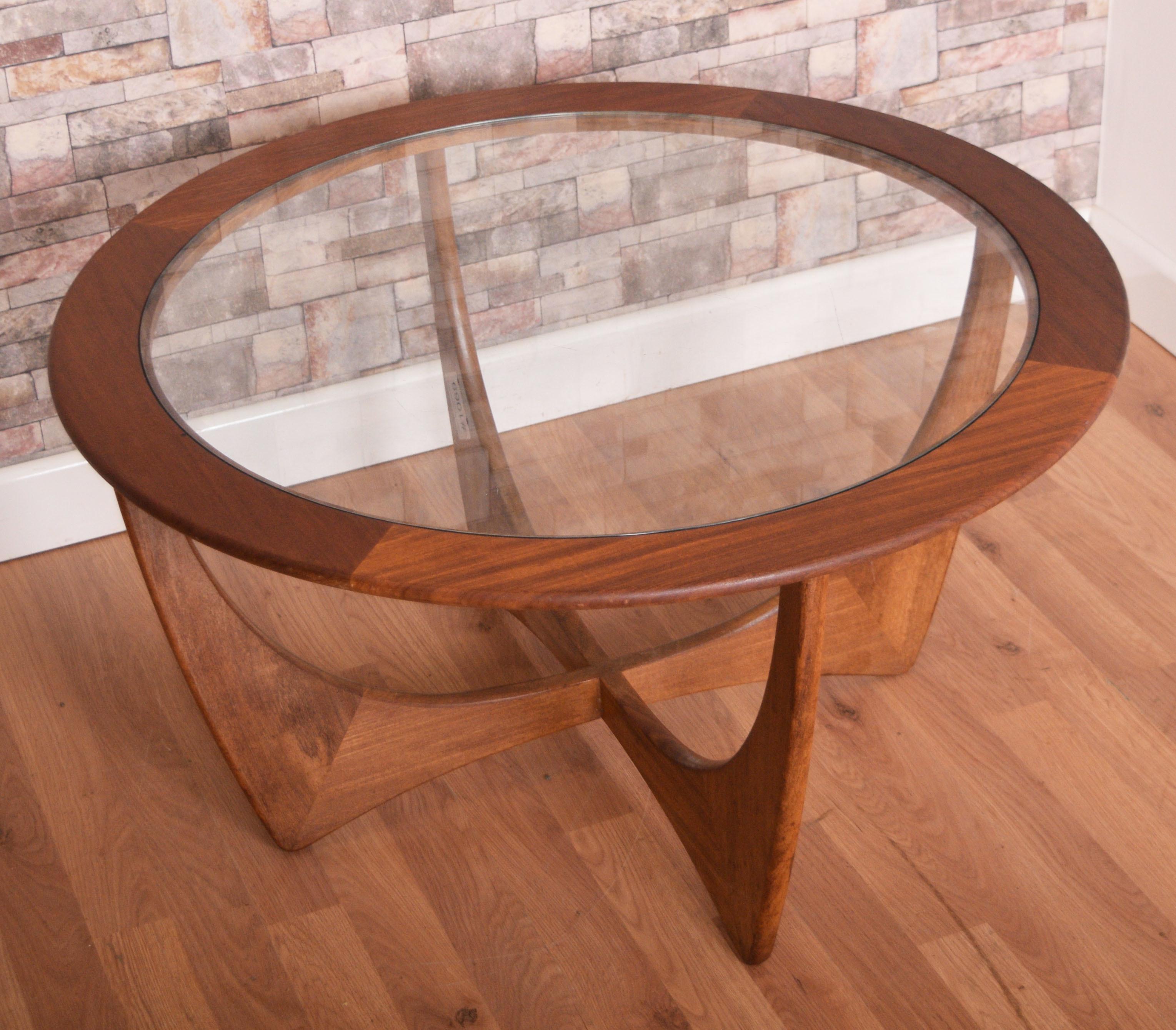Retro Teak 1960s G Plan Round Astro Glass Teak Coffee Table By