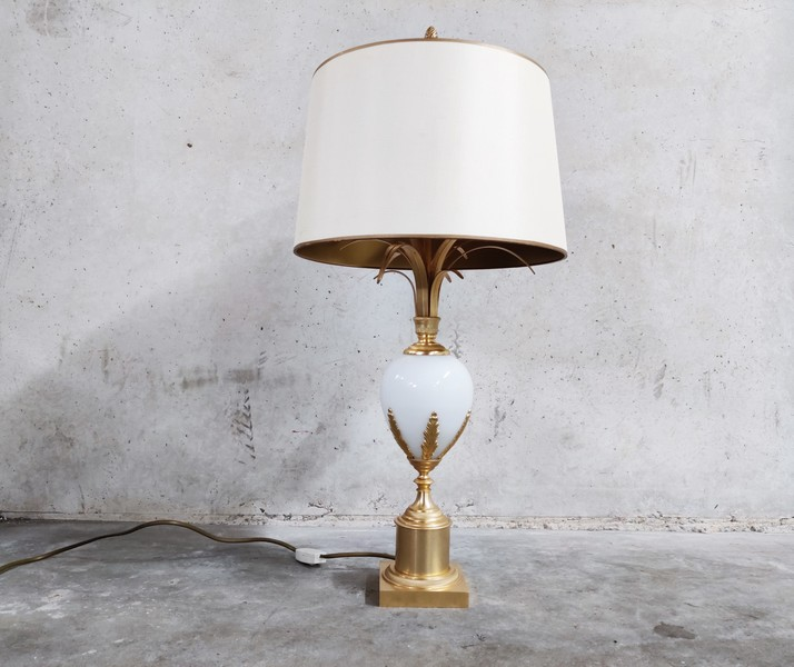 Brass And Opaline Pineapple Leaf Table Lamp 1960s