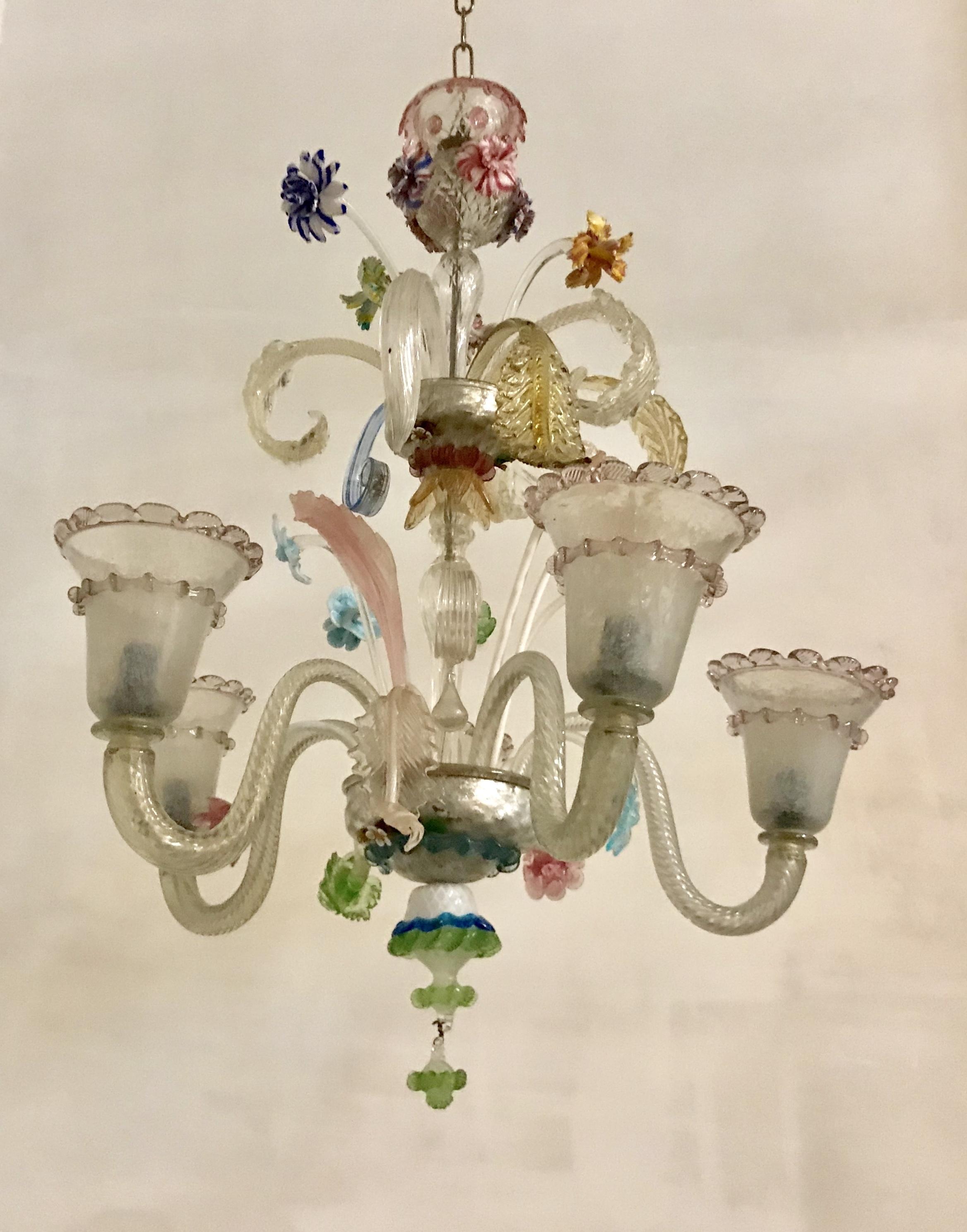 Murano Glass 5 Arm Chandelier, 1940s