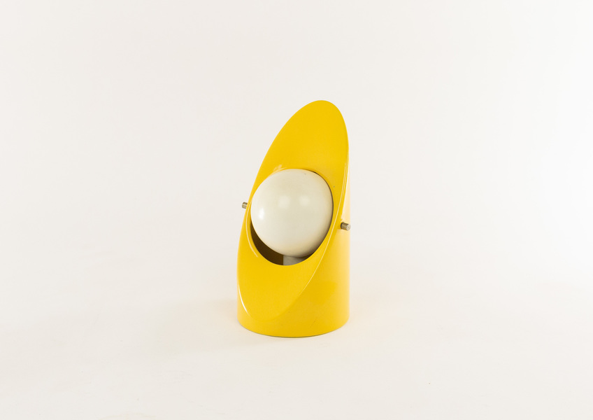 Yellow And White Ceramic Italian Space Age Table Lamp, 1960s