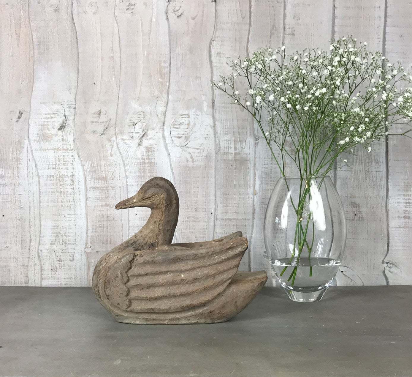 Vintage Antique Decorative Hand Carved Wooden Duck