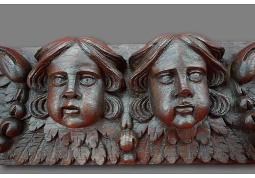 17th Century French Carved Oak Wood Pediment Panel High Relief Cherubs Angels