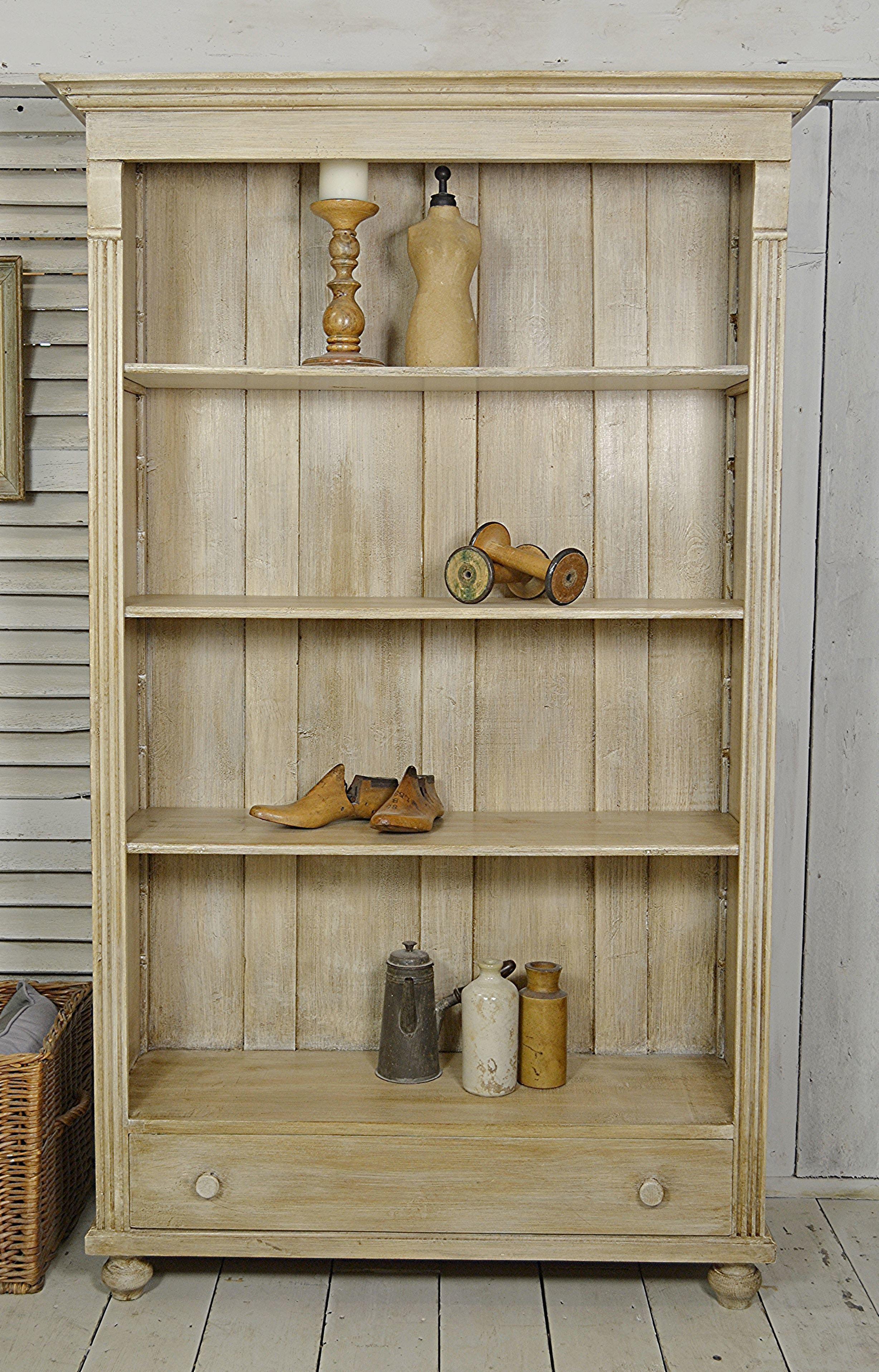 Rustic Dutch Bookcase With Dragged Brush Glaze Effect Dark Oak