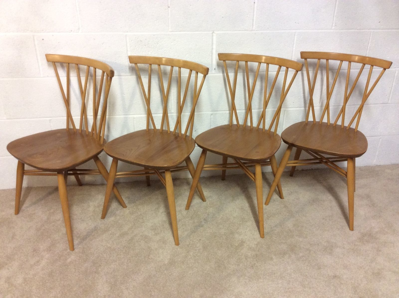 separation shoes f8a46 90db3 4x Vintage Ercol Windsor Model 376 Candlestick Dining Chairs Mid Century  Retro