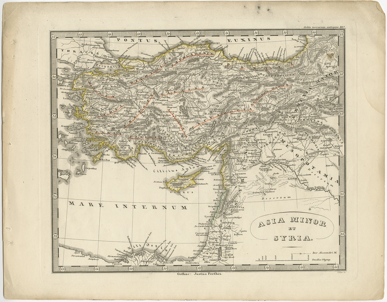 Map Of Asia Minor 60 Ad.Antique Map Of Asia Minor And Syria By Perthes 1848
