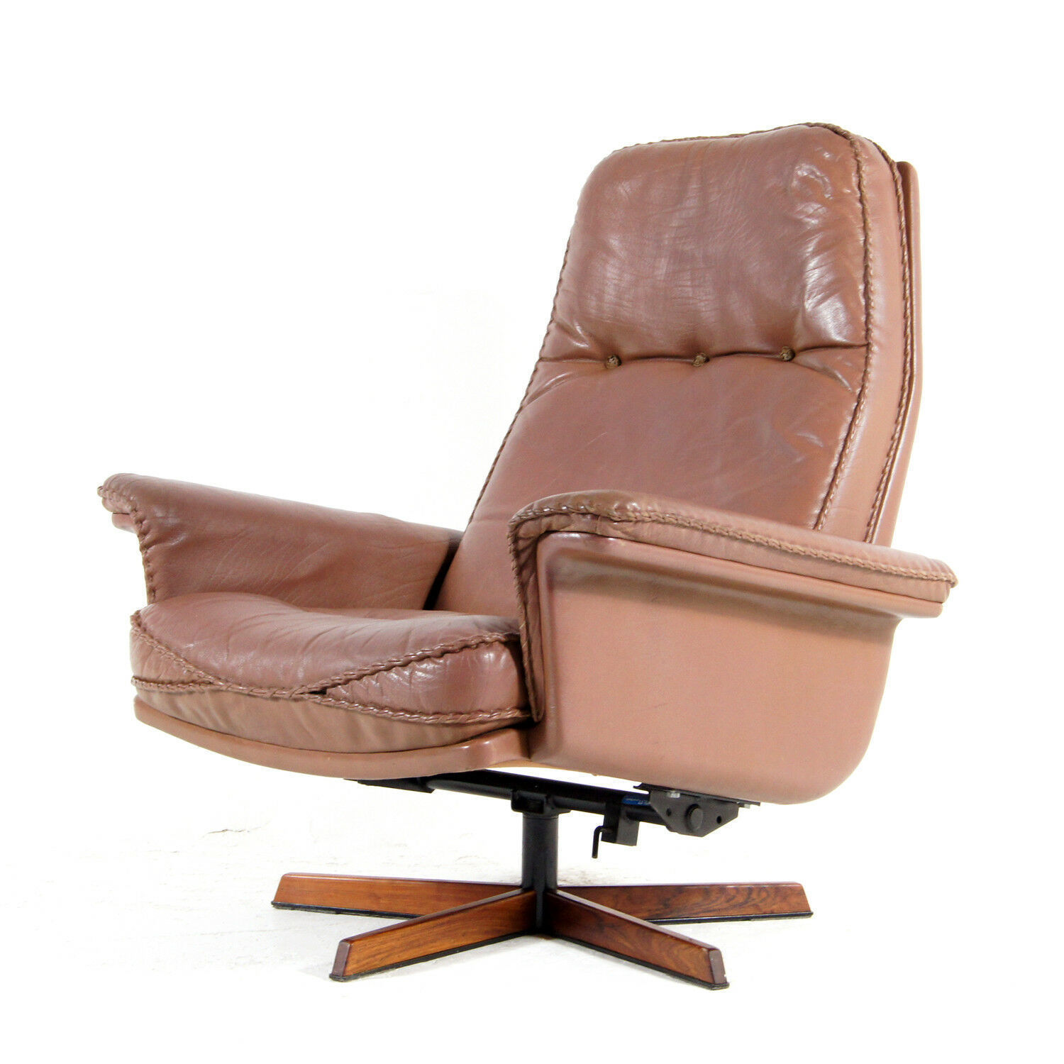 Retro Vintage Danish Recliner Leather Swivel Lounge Egg Chair Armchair 60s 70s