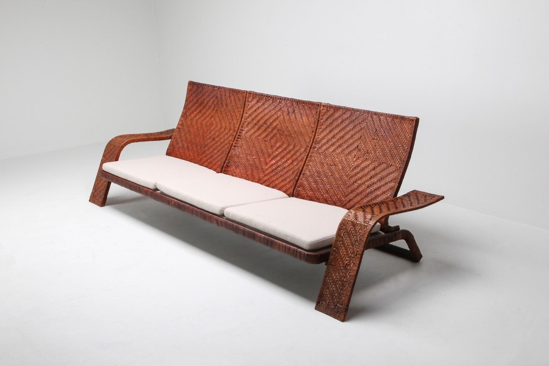 Marzio C Woven Leather Postmodern Sofa