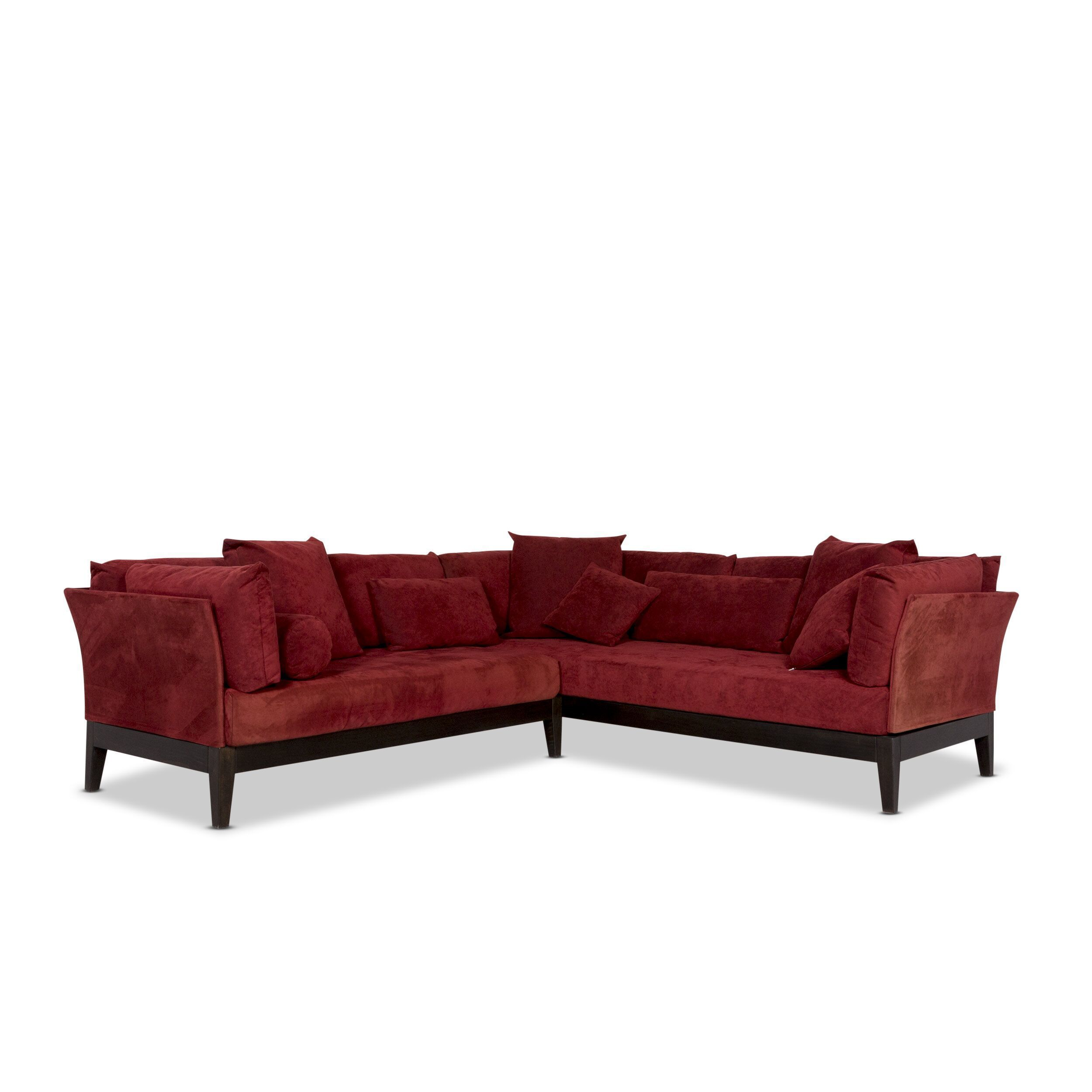 Seefelder Bonna Leder Microfaser Stoff Ecksofa Rot Sofa Couch 10235