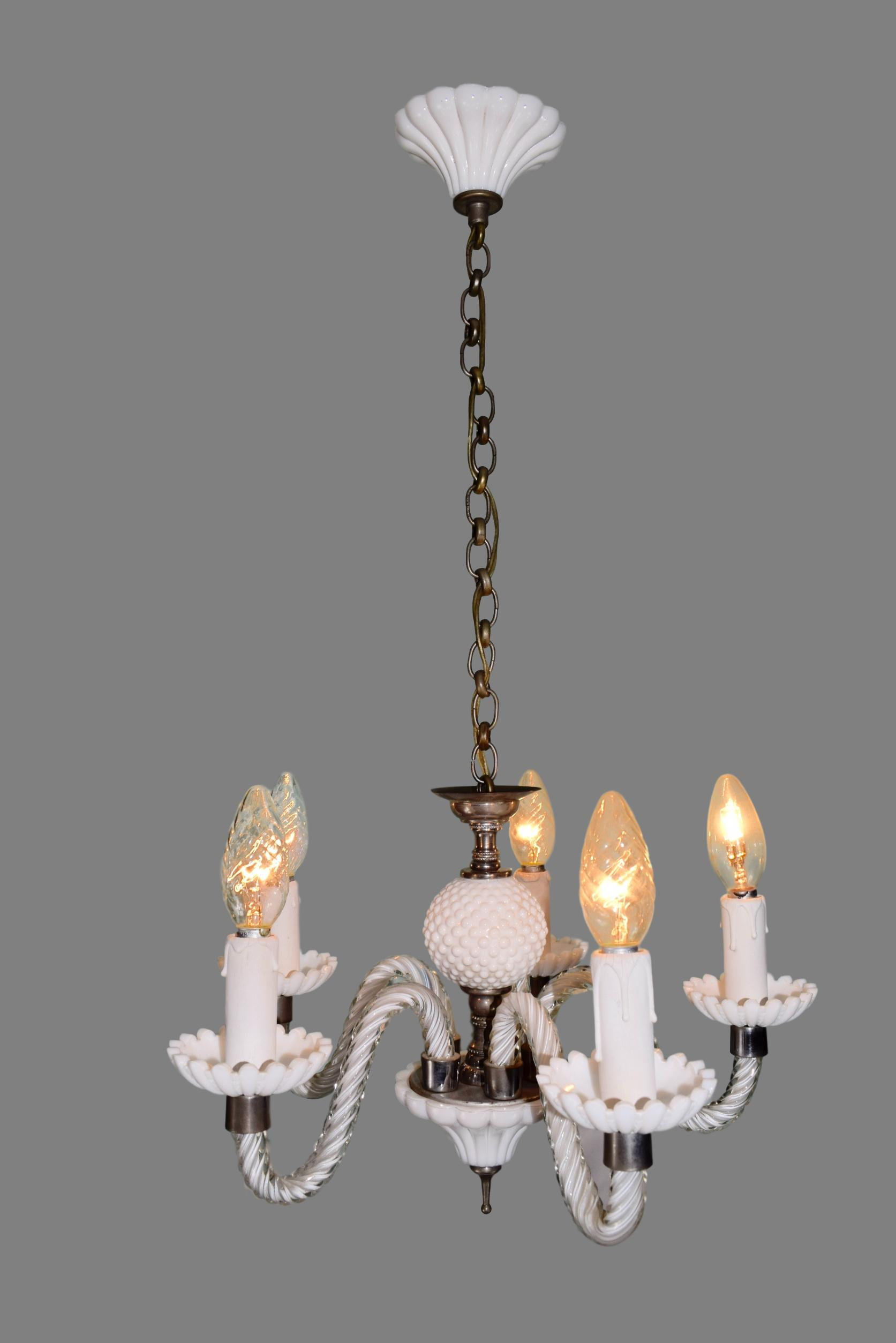 Vintage White Opaline Chandelier With 5