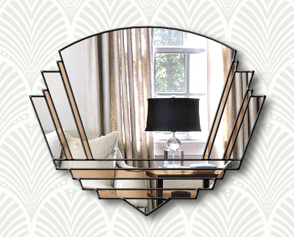 Phillipe Original Handcrafted Art Deco Wall Mirror In Bronze With A Black Trim Phillip Orr Vinterior