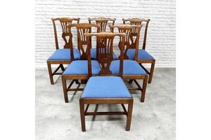 Thumb set of 6 antique fruitwood dining chairs 0
