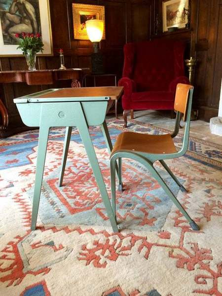 Vintage Cast Metal Framed Child's Desk With Matching Chair